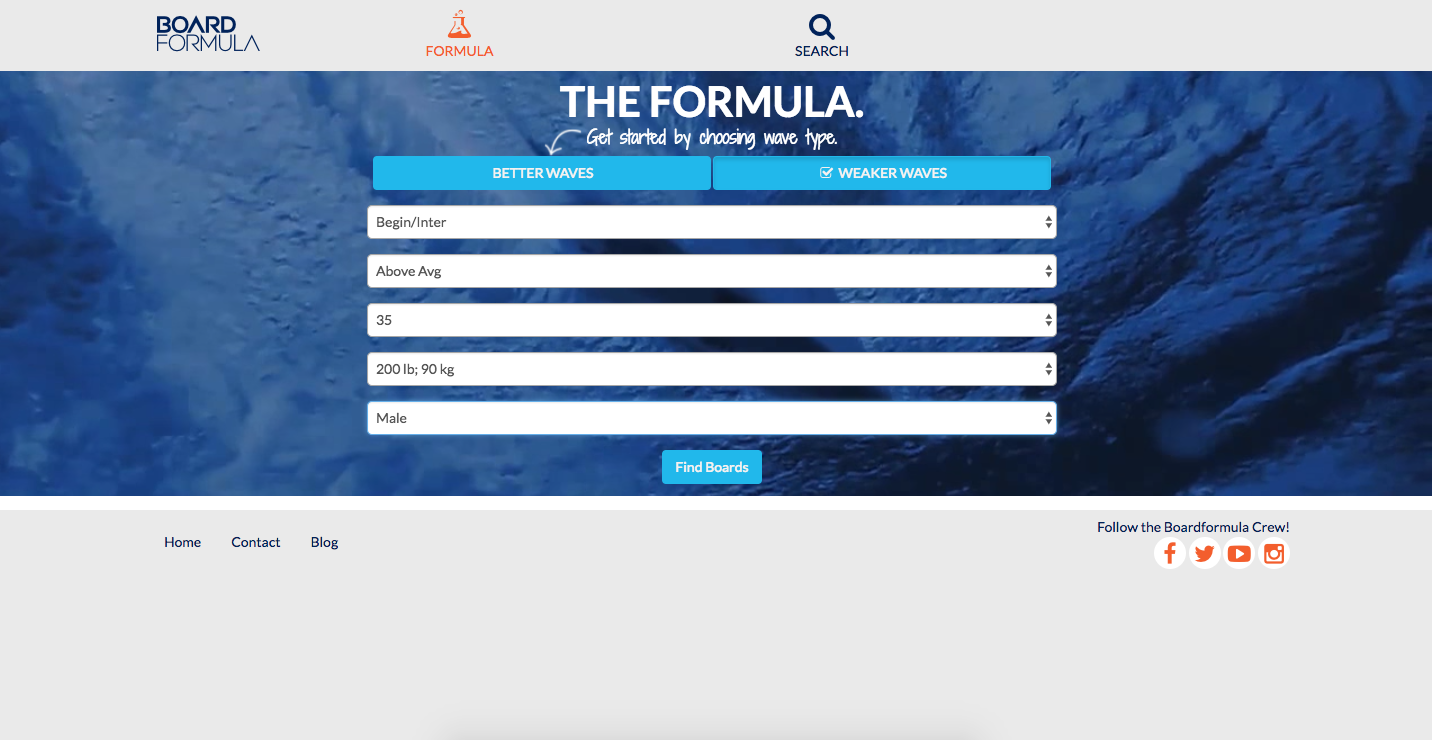 screenshot of a boardformula volume calculator form