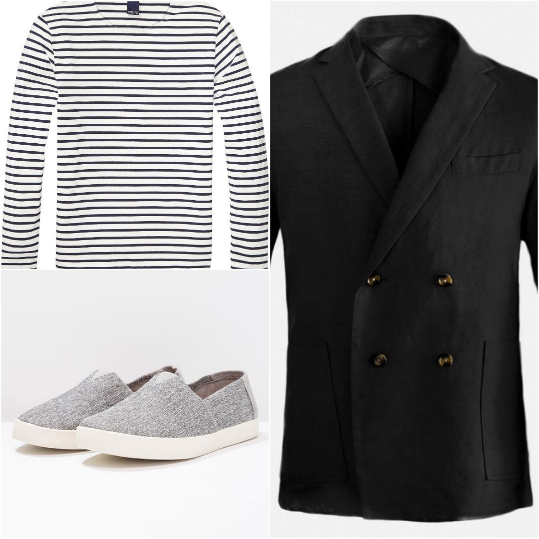 A collage photo of double breated blazer, striped t-shirt and grey sneakers