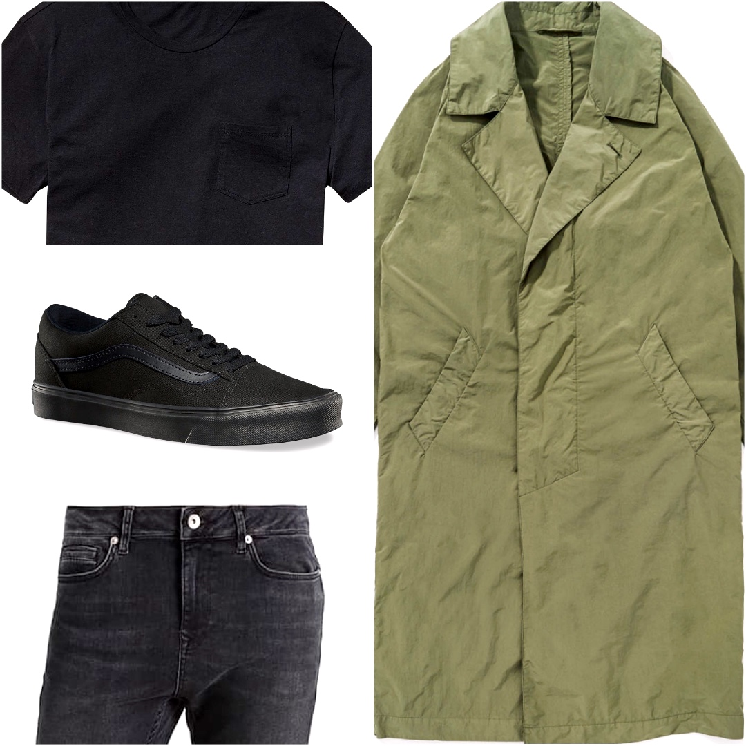 A collage of trench, black skinny jeans, black t-shirt and vans shoes