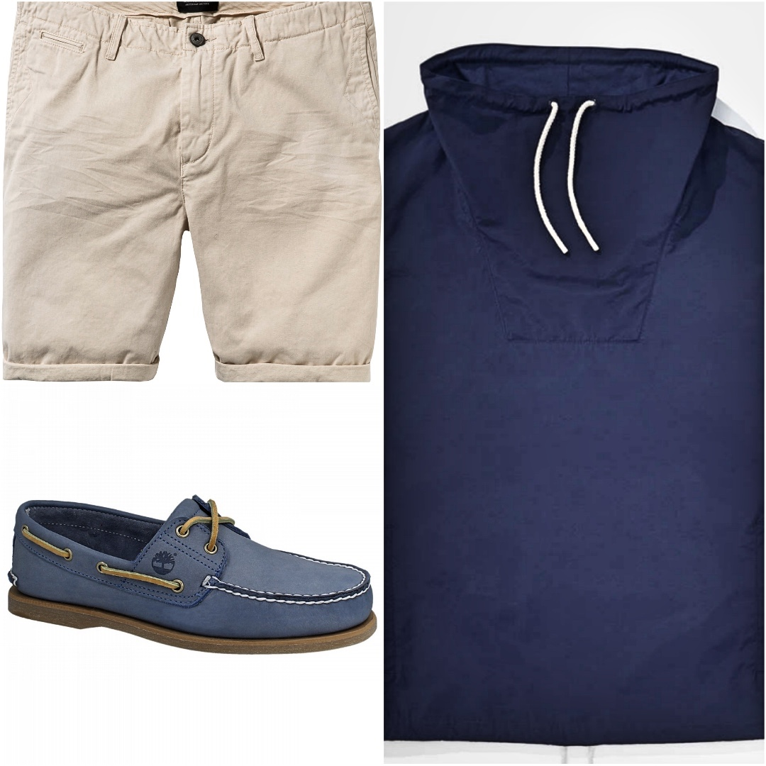 A collage photo of short sleeve windbreaker, chino shorts and boat shoes