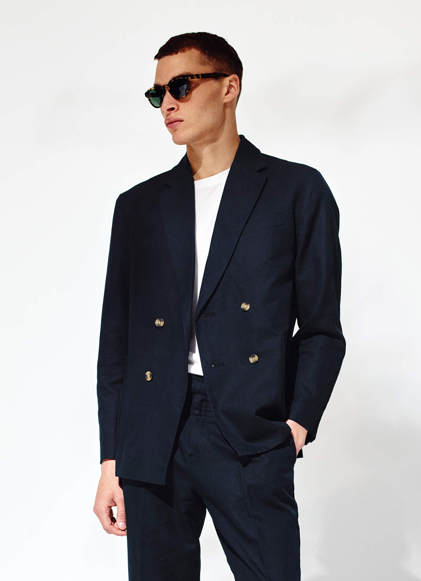 A photo of a model wearing brian blazer