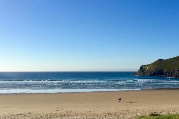 Zdjęcie surfera idącego po plaży w Pantin
