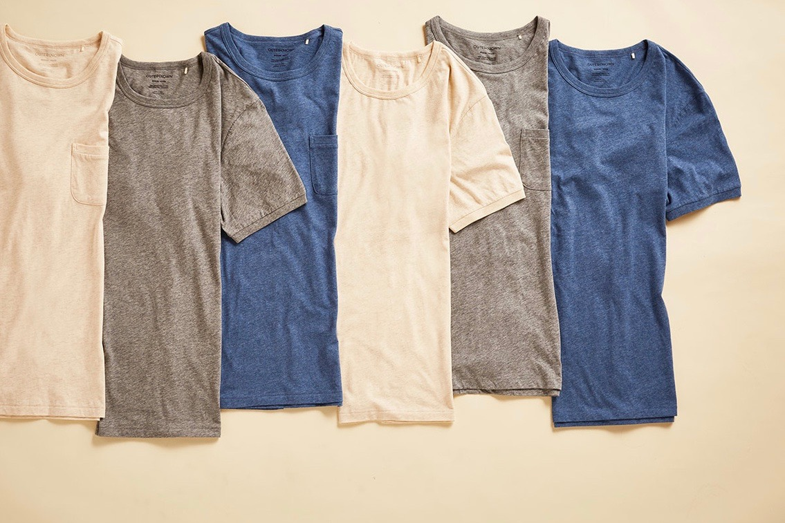 Picture of Outerknown Sojourn t-shirts in grey, navy and beige