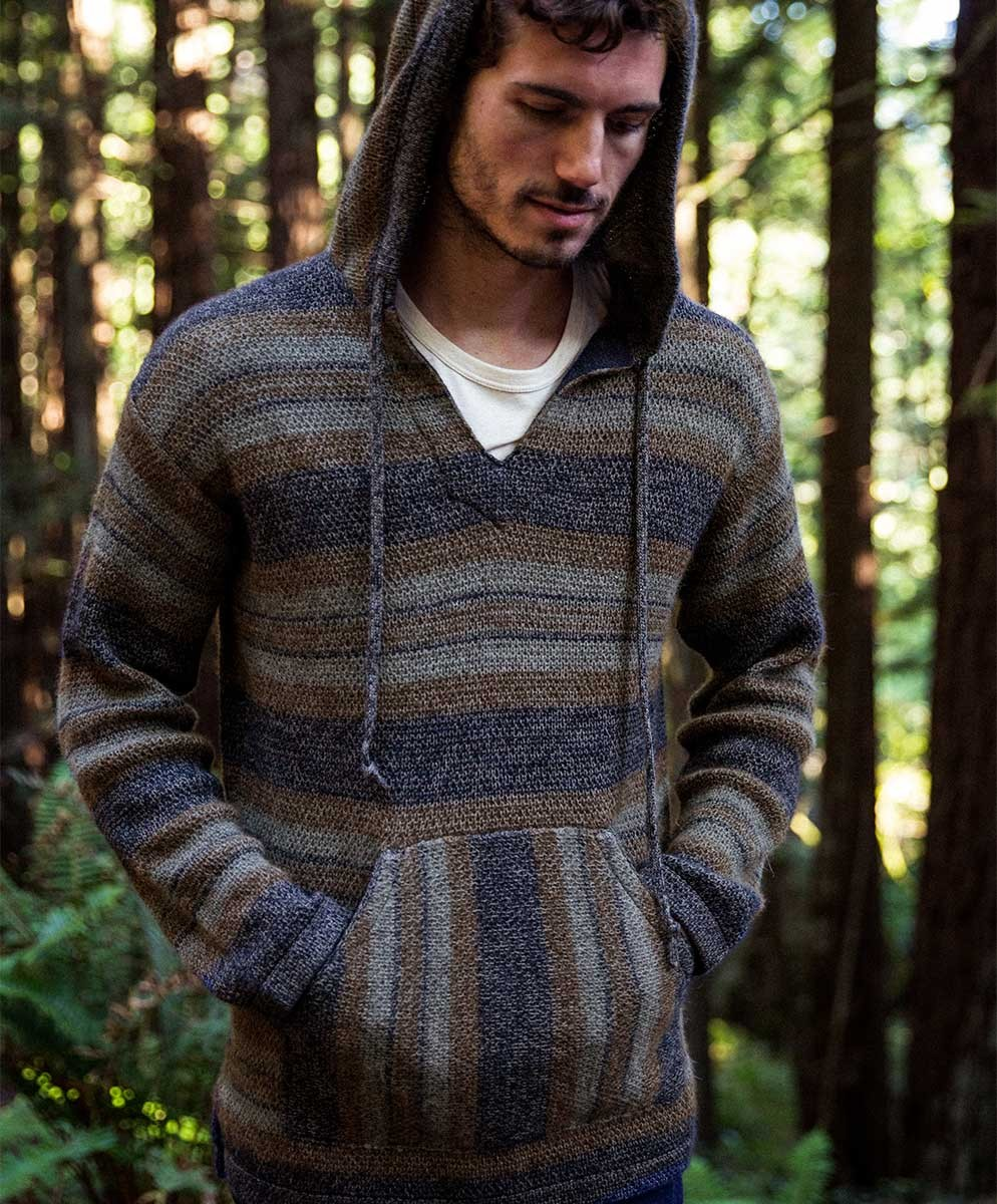 Picture of model wearing Barranco poncho from 2017 Outerknown collection