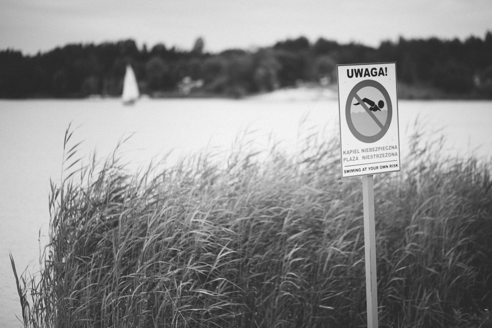 Picture of a lake shore with No Swimming sign and a boat on a horizon
