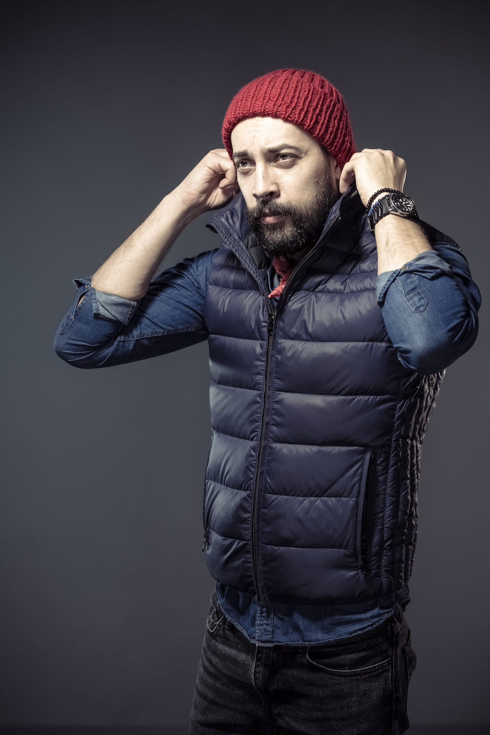 man wearing a red beanie
