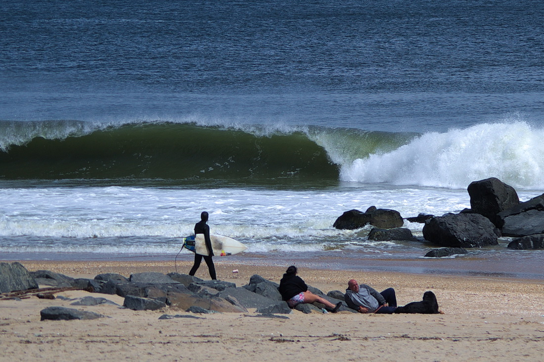 surfer on the Jersey shore