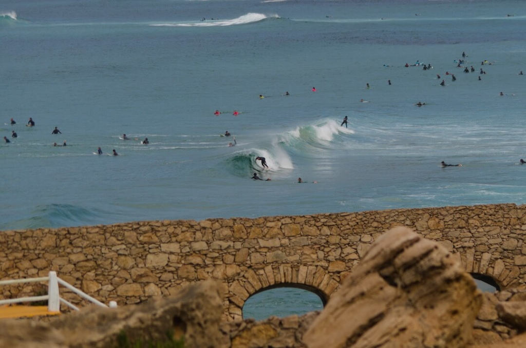 surfer in a barrel at Guincho beach, Portugal